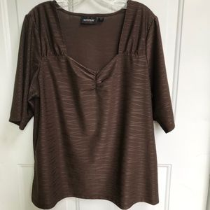 Lowest Price! Avenue Brown Top w/Sweetheart Neck
